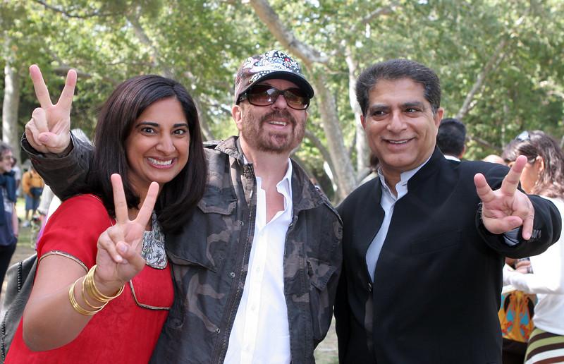 "(L to R) Mallika Chopra, Dave Stewart, and Deepak Chopra attend the launch of  Mallika Chopra's book, ""100 Questions From My Child,"" May 19, 2007 at  Crestwood Hills Park, Los Angeles, CA. (Photo by Katy Winn/Corbis)"