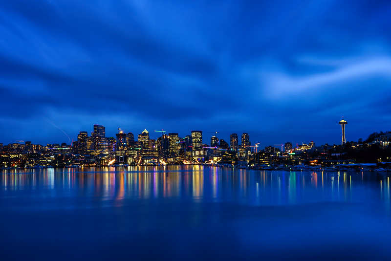 Seattle City Skyline at Blue Hour from Gas Works Park