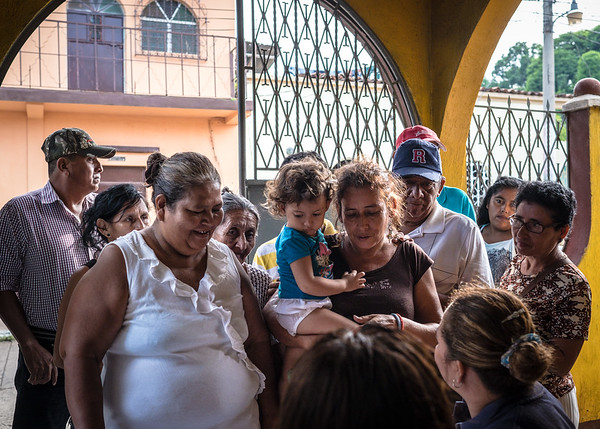 Taxisco residents line up to get eyeglass exams.