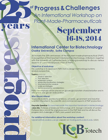 International Workshop on Plant-Made-Pharmaceuticals, September 16 -18 2014