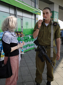 Esther with our most beloved Israeli soldier: our nephew Reggie Leslau