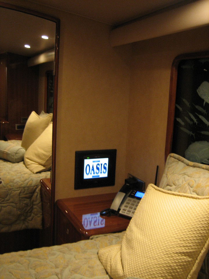 In wall dock in the Master Stateroom. <br /> Ready to watch a movie?
