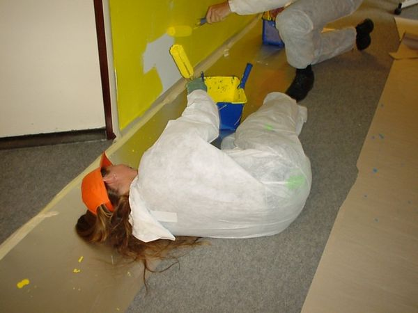 Eva Plaut on the floor... painting