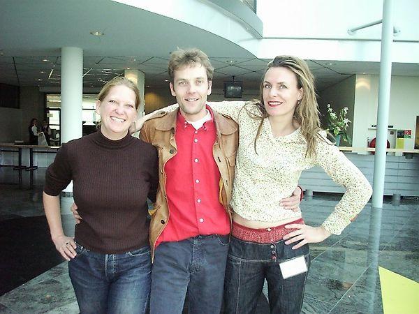 Irene Kwaaitaal, Marc Dieben and Sharon, aka Blauw, the former Research band