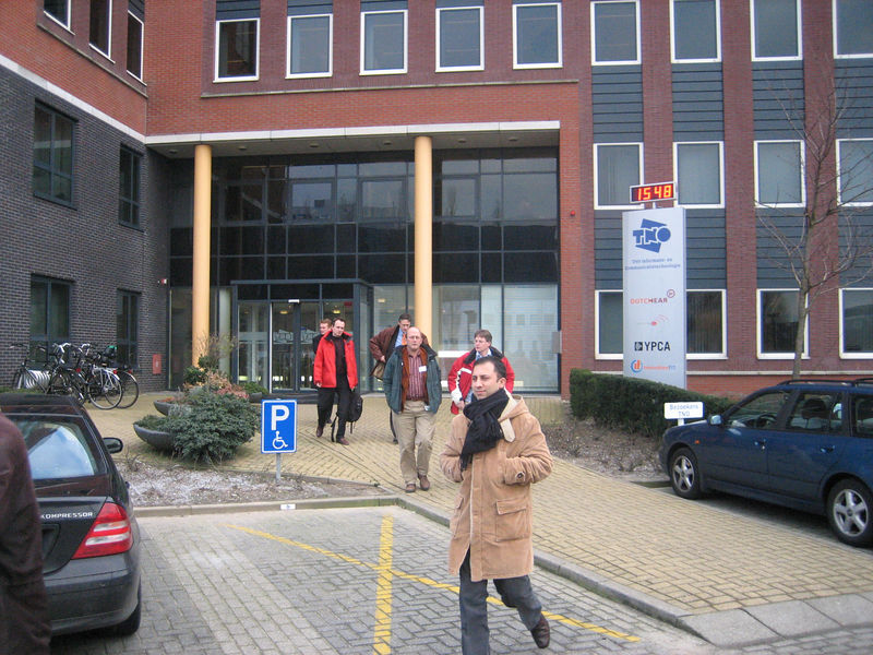 Leaving the building of TNO ICT to go to the demos