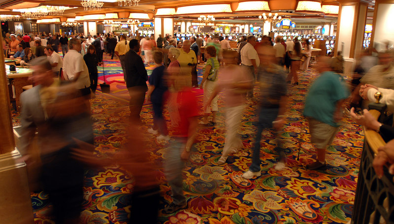 Patrons wander the casino of the Beau Rivage Resort in Biloxi after a grand opeining ceremony Tuesday.