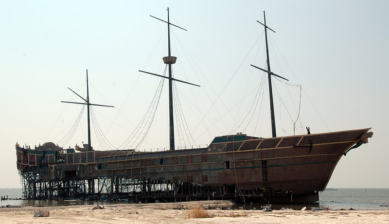 Like a scene from an old movie, the pirate ship shaped barge that was the Treasure Bay Casino in Biloxi sits stranded on the beach, pushed off her moorings by Hurricane Katrina's storm surge.