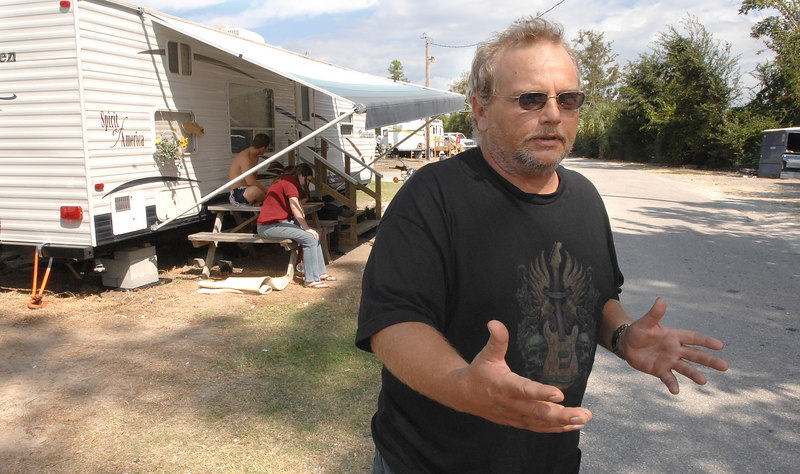 John Davison talks about living in a FEMA trailer and the loss of his house in Waveland outside his home at the Cajun RV Park on U.S. 90 in Biloxi.