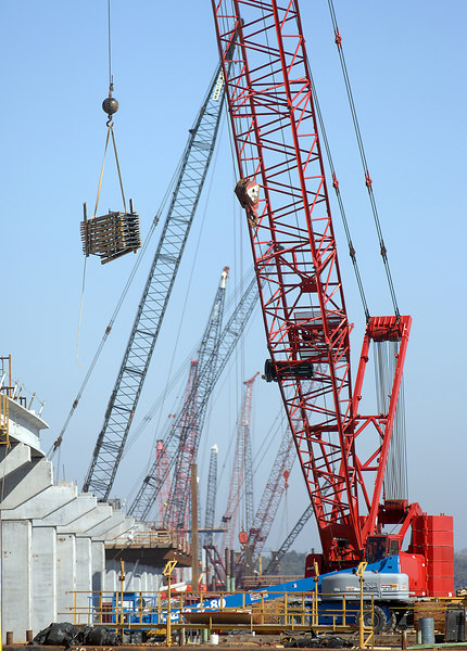 Construction is progressing along the new U.S. 90 bridge between Ocean Springs and Biloxi that was destroyed by Katrina.