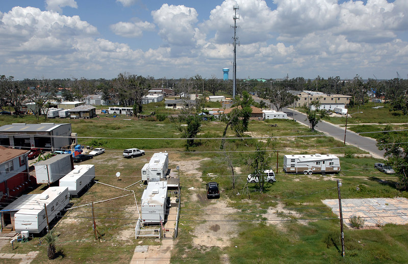 Bare slabs and FEMA trailers still make many lots in Biloxi where storm surge from Hurricane Katrina wiped out a large number of the homes.