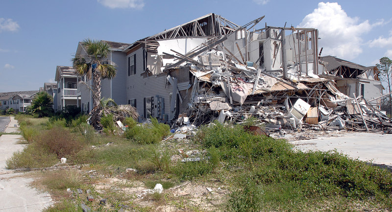 A heavily damaged housing complex off U.S. 90 in Long Beach sits much like it was right after Hurricane Katrina a year ago. Many of the complex buildings closer to the beach were totally destroyed, and the rest were heavily damaged. One of the major hurdles for residents hoping to return to coast is a lack of housing.