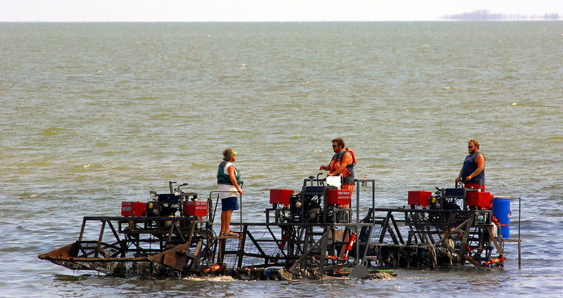 Workers use special machines to clean the water of debris from Hurricane Katrina just off the beach in Gulfport.