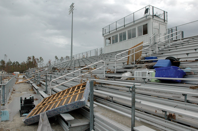 Debris washed up by Hurricane Katrina sits in the stands of the football field by the Pass Christian Elementary School on W. North Street in Pass Christian.