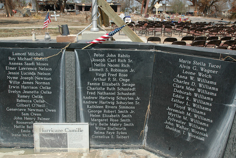 The memorial to the victims of Hurricane Camille on the grounds of the Episcopal Church of the Redeemer in Biloxi was heavily damaged, as was the church building itself.