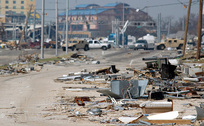 A cacophony of Debris litter U.S 90 looking toward U.S. 49 after storm surge from Hurricane Katrina passed through the area Monday.