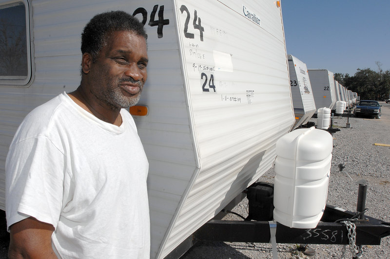 James Cush is still living in a trailer three blocks from the Gulf in Biloxi 18 months after Katrina.