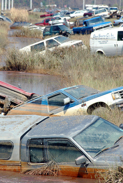 Cars sit in the ditch at the side of Highway 43 at Waveland after being washed off the road by storm surge from Hurricane Katrina Monday.