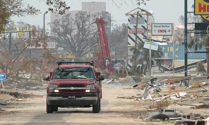 Debris litter U.S 90 looking west toward the Treasure Bay Casino after storm surge from Hurricane Katrina passed through the area Monday.