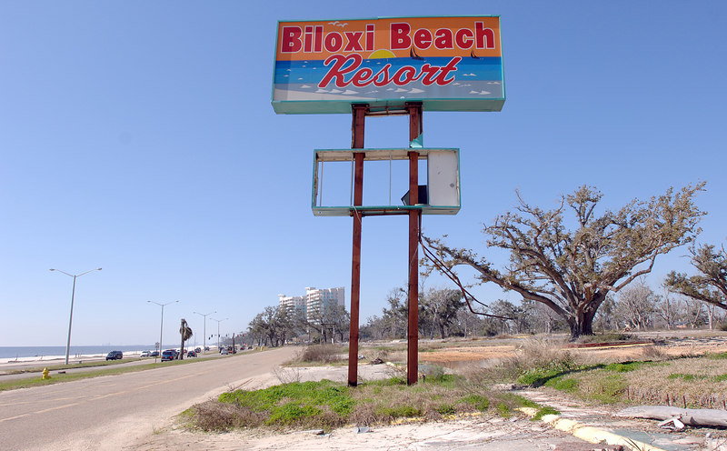 All thatÕs left of this popular Biloxi hotel is the tattered sign and an empty lot.
