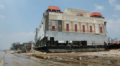 A casino barge sits across U.S. 90 in Biloxi atop what was a Holiday Inn near the Coast Coliseum. Storm surge from Hurricane Katrina pushed the floating casion several hundred yards from its moorings.