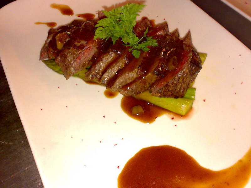 Black Angus Filet Mignon with Armagnac sauce and asparagus