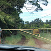 Exiting the Kulani Prison grounds, opening the DLNR gate.
