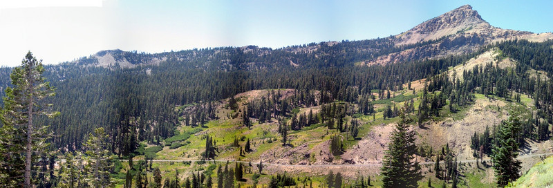 Another stitching of a panorama--Brokeoff Mountain is at right. Brokeoff was once a part of a much larger composite volcano.