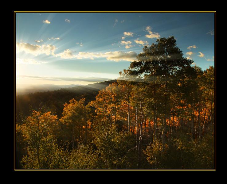 sunset over SanteFe mountains
