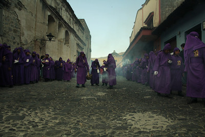 An afternoon Lent procession moves along the streets of Antigua, Guatemala on February 17, 2013. Photo by Scott Umstattd