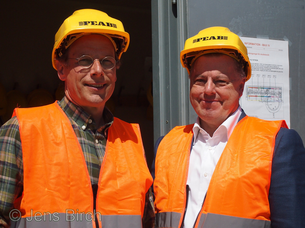 Jens Birch and Ulf Karlsson at the MAX IV construction site. June 17, 2013.