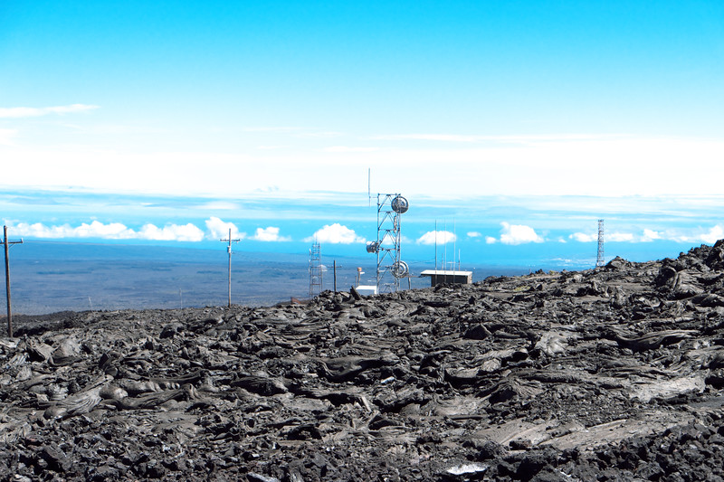 The view from the Hawaiian Telcom tower, towards the lower towers and Hilo and the Hamakua coast line, 30 miles away.