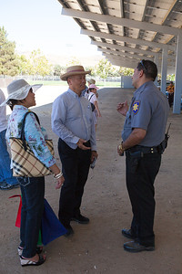 Mayor Jose Esteves talking to one of the security personals.