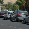 Parents waiting in cars parked around the Russell Ln to avoid traffic congestion.