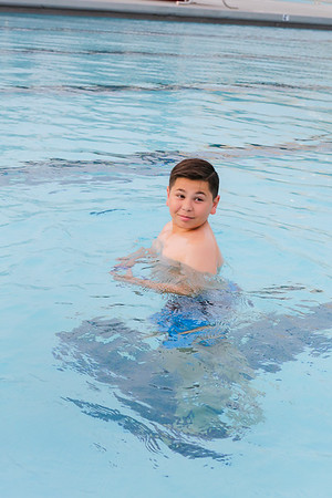 Daniel Reyes at the newly opened pool.