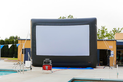 Newly raised movie projection screen.