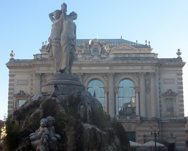 """Opera Comedie--Place de la Comedie and its """"Fountain of the Three Graces"""""""