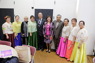 Golden Girls of Milpitas, pose with the Mayor, Vice Mayor and Our Lady of Guadalupe Society President Ruben Esguerra in the middle.