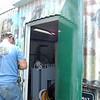 Installing the new door on the upper building