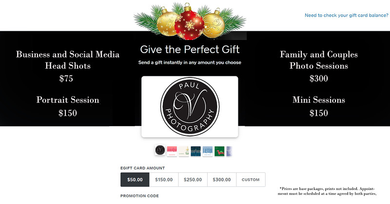 Gift Card w prices