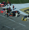 # 42 Juan Montoya (Texaco/Havoline), # 24 the Wonder Boy, Jeff Gordon (Dupont), # 1 Martin Truex, Jr. (Bass Pro Shops), and 07 Clint boyer (Jack Daniel's) pit crews pump up their drivers before the big race.