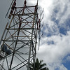 The 50 ft. tower, with antenna installed but not oriented correctly yet.