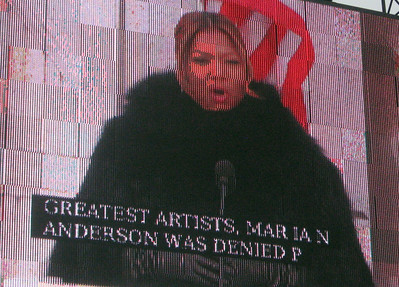 Queen Latifah invokes Marian Anderson, the contralto who was denied permission to sing at Constitution Hall in the 1940s by the Daughters of the American Revolution. Intervention by Eleanor Roosevelt led to Anderson giving her concert on the steps of the Lincoln Memorial.