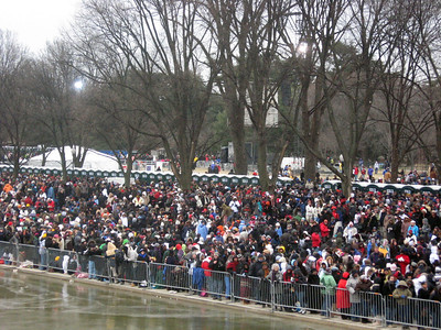 Crowds packed in tight along the mall awaiting the concert.