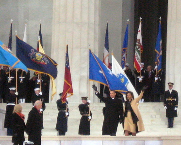 The President-Elect and Mrs. Obama descend the steps from the Memorial.
