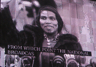 Black-and-white footage of Marian Anderson at the Lincoln Memorial.