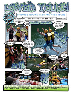 These are email campaigns that I created like comics.  The guides seem like superheros when they put on their helmets and PFD's and it seemed like an artistic way to proliferate the image.