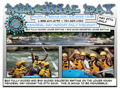 2013 email campaigns created by Unit4media for Ohiopyle Trading Post and River Tours.