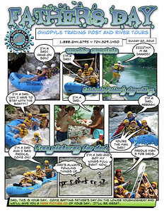 These are email campaigns that I created like comics.  The guides seem like super heros when they put on their helmets and pfd's and it seemed like and artistic way to proliferate the image.