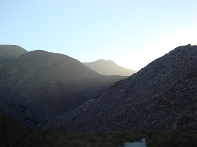 Hiking back from Cougar Canyon in the Anza Borrego Desert State Park.  The sun was setting just behingd the ridge.
