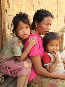 mother and children in Laos
